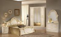 Italian beige high gloss bedroom furniture set - Homegenies