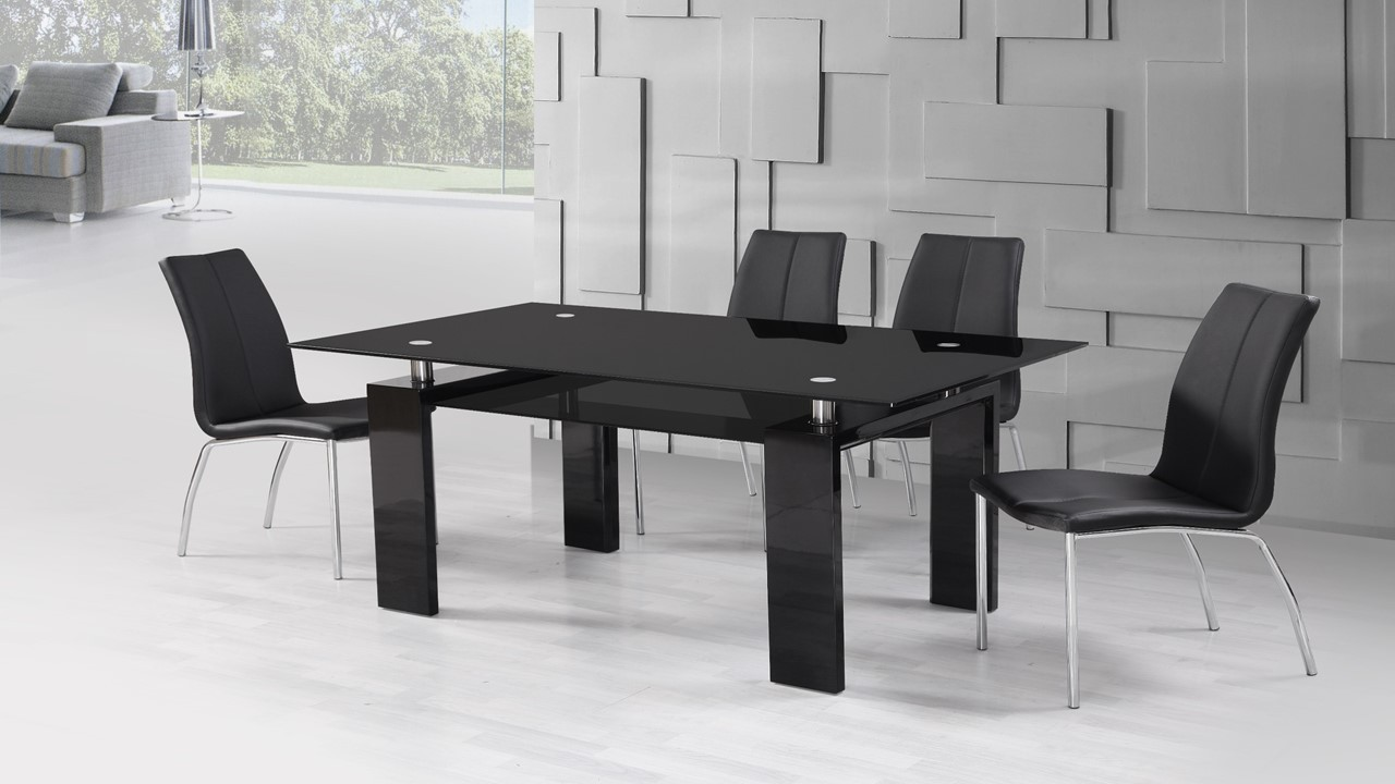 Black High Gloss Glass Dining Table And 4 Black Dining Chairs