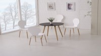 Round Wooden Black Dining Table and 4 White Chairs ...