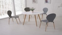 White Dining Table and 4 Grey Chairs - Homegenies