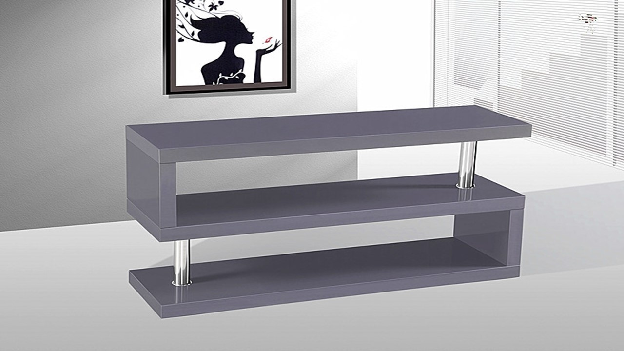 Tv Stand Unit In Grey High Gloss Homegenies