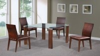 Beech, Walnut, Glass Dining Table and 4 Chairs - Homegenies