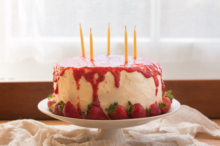 White Chocolate Layer Cake w/ Strawberry Chia Coulis | HOMEGROWN KITCHEN