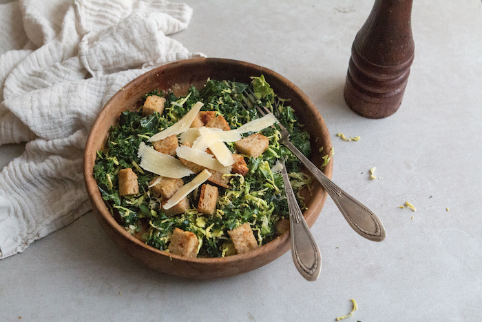 Kale & Brussels Caesar Salad   HOMEGROWN KITCHEN