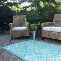 cream, turquoise, plastic outdoor rug, patio rug, indoor