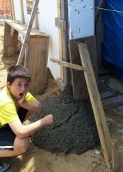 David inspecting the damage