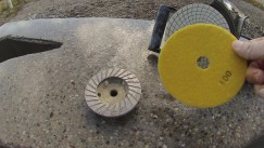 We used a wet grinder to polish the concrete. It had various different cups and polishing pads.