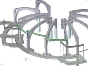 3D model showing the ribs and curved steel I beams.