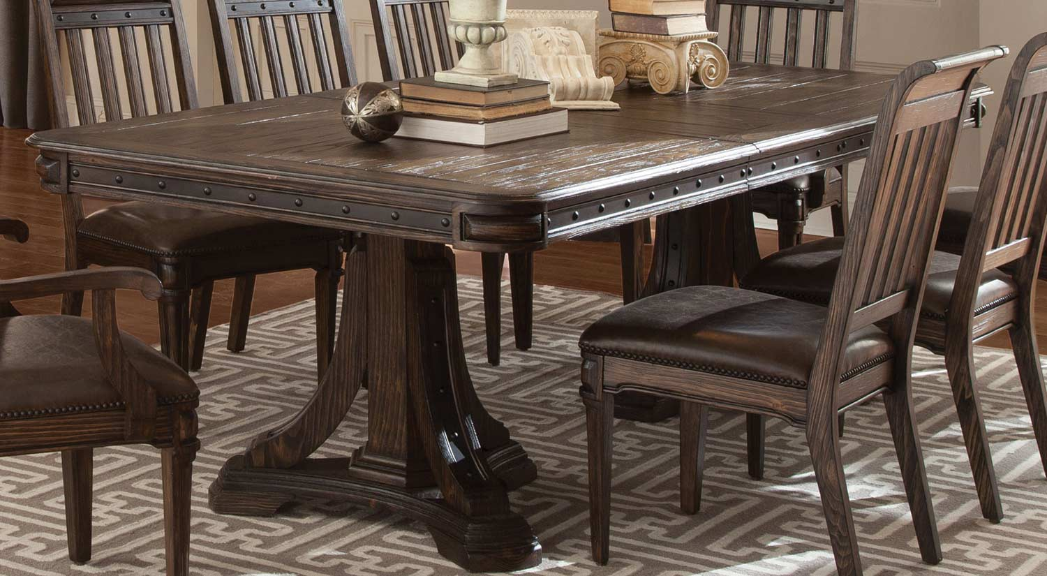 Coaster Carlsbad Double Pedestal Dining Collection Dark