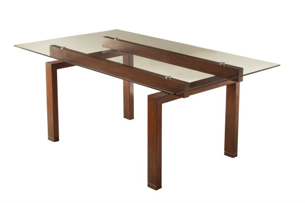 coaster rossine glass top rectangular dining table
