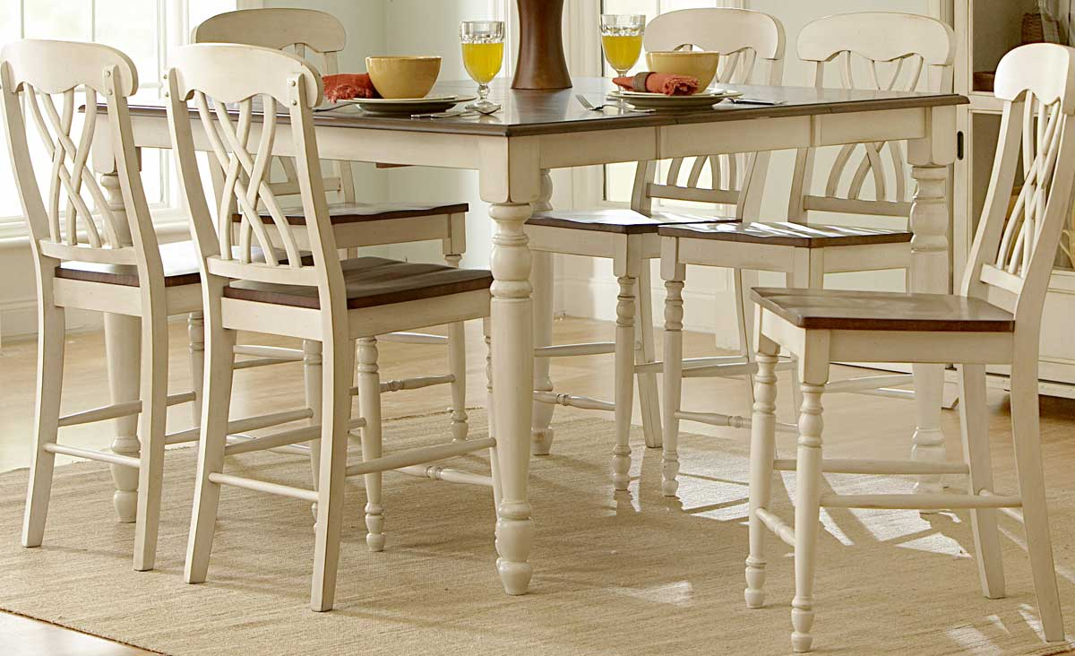 Homelegance Furniture Ohana Counter Height Dining Set White DW 36 p bar height kitchen table Homelegance Ohana Counter Height Table White