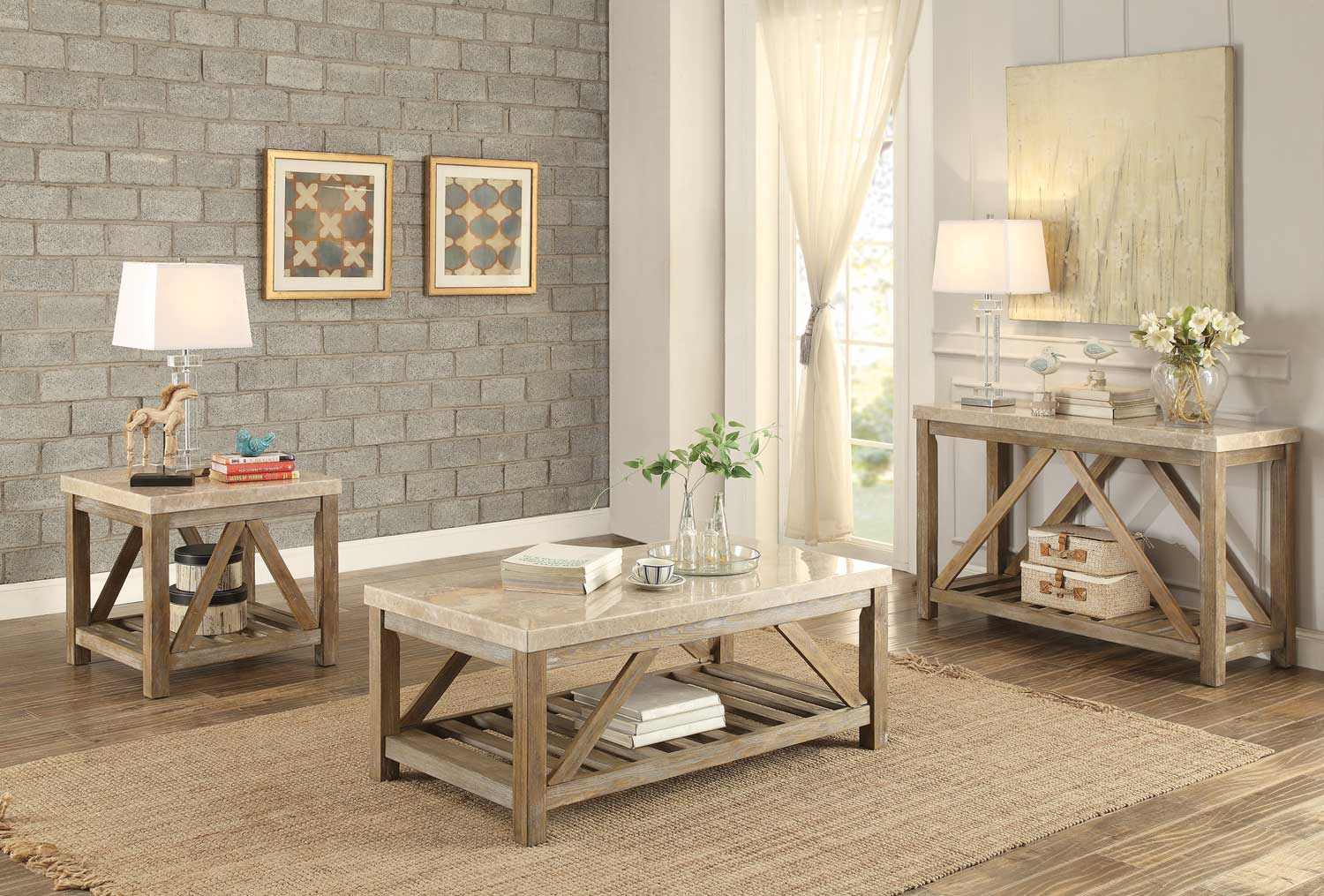 Homelegance Ridley Cocktail Coffee Table Set Weathered
