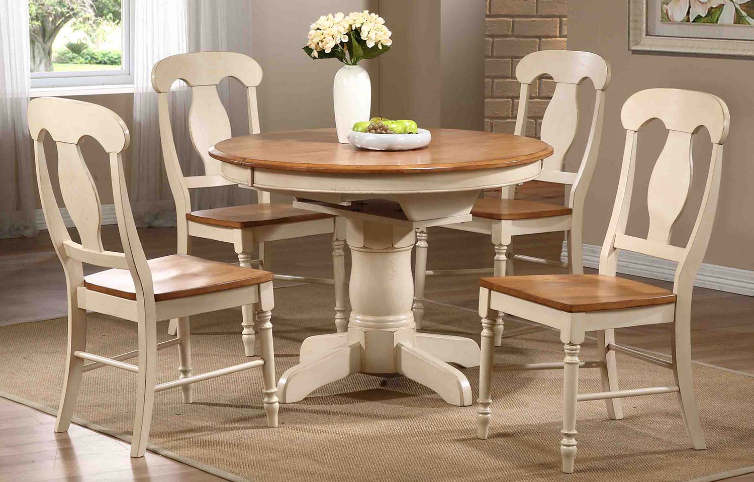 Iconic Furniture Round Oval Pedestal Dining Set With