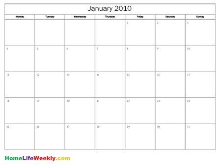 Free Printable Calendar 2010 « Home Life Weekly - free calendar printable