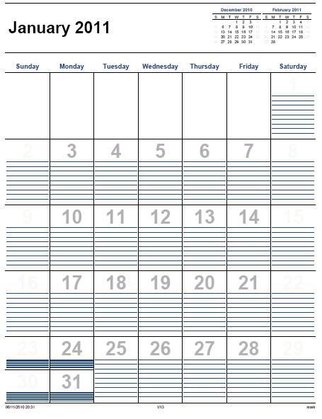 Home Life Weekly » Printable Calendar 2011