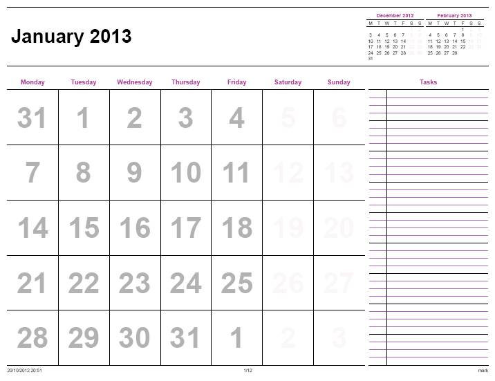 monthly task calendar template