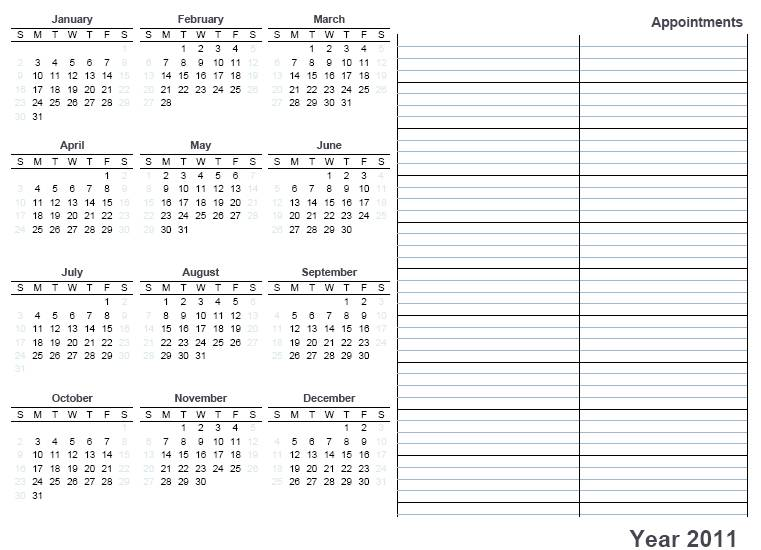 Printable Calendar 2011 « Home Life Weekly