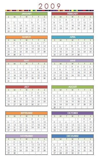 Free Printable Calendar Selection 2009 « Home Life Weekly