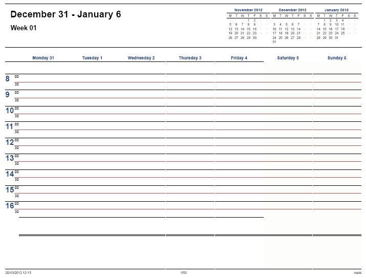 2013 weekly calendars - Tikirreitschule-pegasus - weekly printable calendars