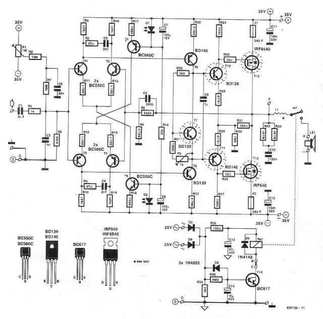 High Power 250 Watt MosFet DJ Amplifier Circuit Homemade Circuit