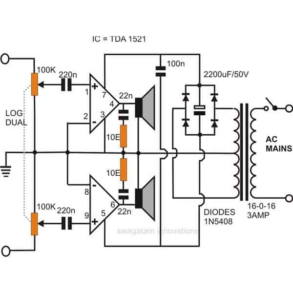5 watts audio amplifier circuit diagram