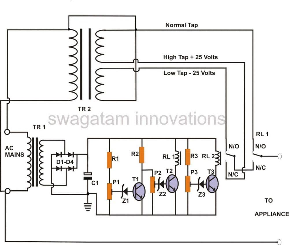 circuit diagram of servo voltage stabilizer