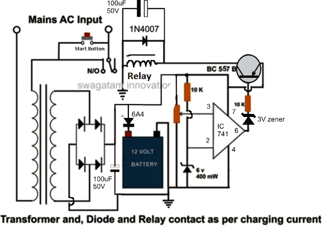 automatic lead acid battery charger circuit homemade circuit