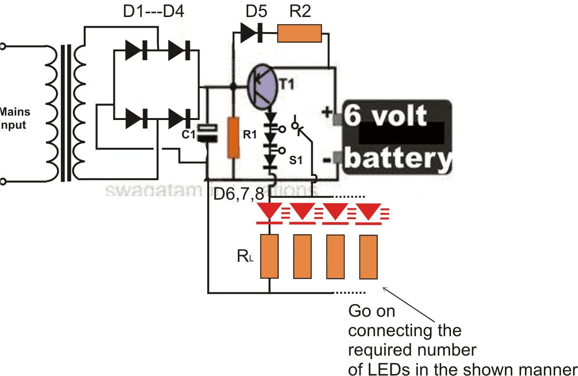 6v led emergency light circuit diagram