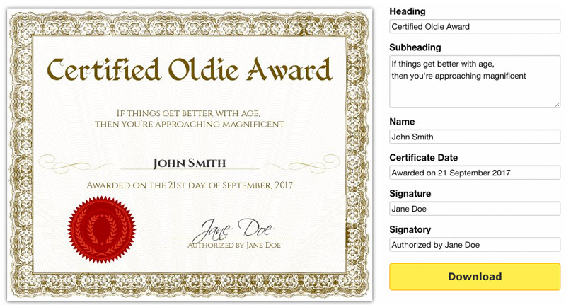 Free Printable Gag Certificates - Award Maker