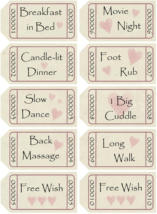DIY Love Coupons - to print and assemble into matchbook-style - coupon template download