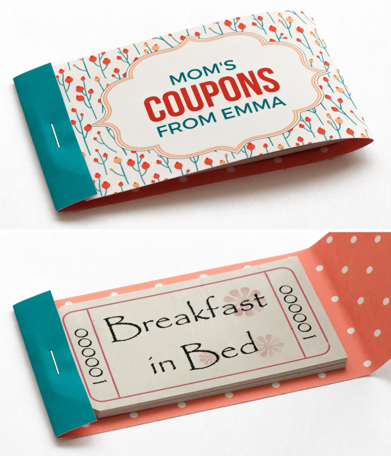 Mothers Day Coupon Booklets to Personalize and Print - Coupon Book Printing