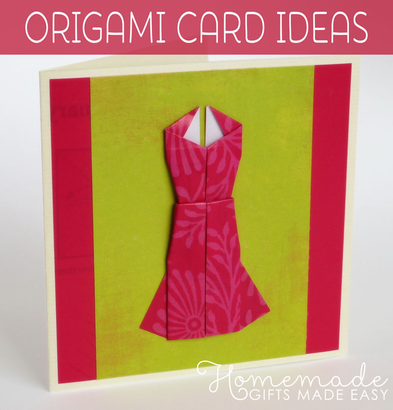 Homemade Origami Card to Make - Cute Dress Design with Photo