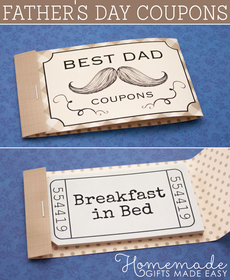 Personalized Fathers Day Coupons - Coupon Book Printing