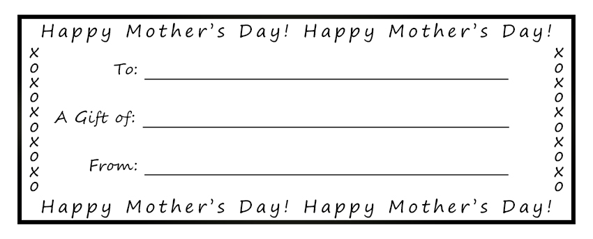 Printable Gift Certificates For Mom - printable gift certificates free template