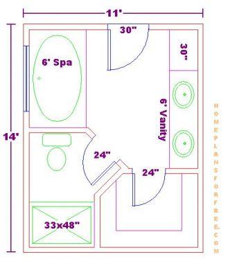 bathroom and closet floor plans Bathroom Design 11x13 Size
