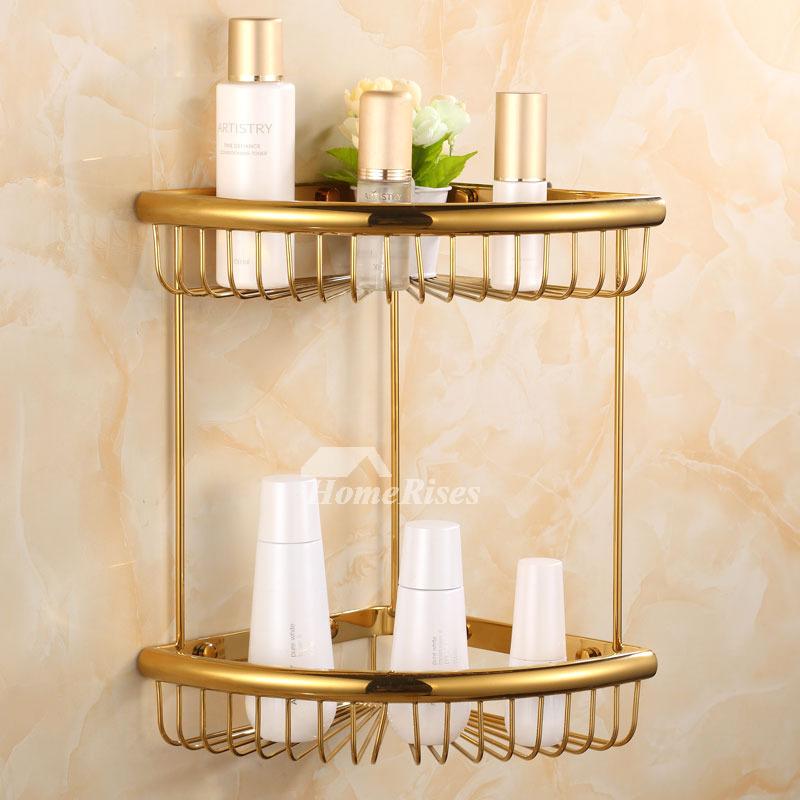 Golden Antique Rose Gold Bathroom Shelves