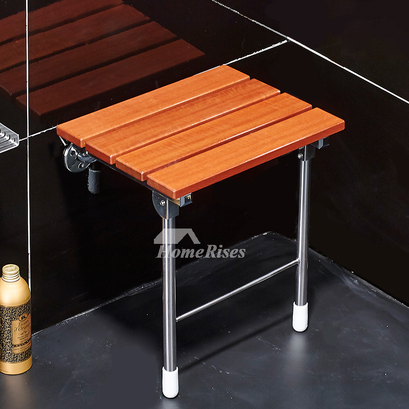 3d Shelves Wallpaper Bathroom Wall Mounted Wooden Folding Shower Seat With Legs