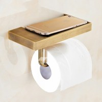 MZ Gold Unique Wall Mounted Brushed Brass Toilet Paper Holder