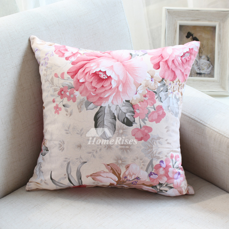 Country Pink Floral Cotton Throw Pillows For Couch