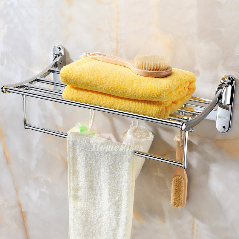 Designer Chrome Wall Mounted Towel Rack Shelf
