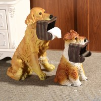 Animal Toilet Paper Holder Dog Shaped Carved Free Standing