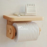 Wooden Toilet Paper Holder Wall Mount With Shelf