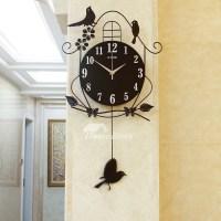 Decorative Wall Clocks Black Illuminated Pendulum Metal ...