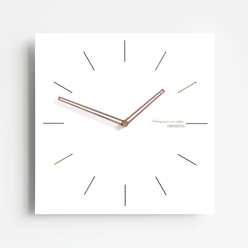 3d Shelves Wallpaper Square Wall Clock White Wooden Contemporary Living Room