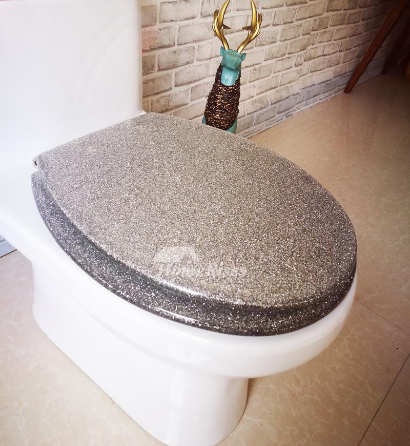 3d Shelves Wallpaper Funky Glitter Resin Elongated Toilet Seat Resin Silver