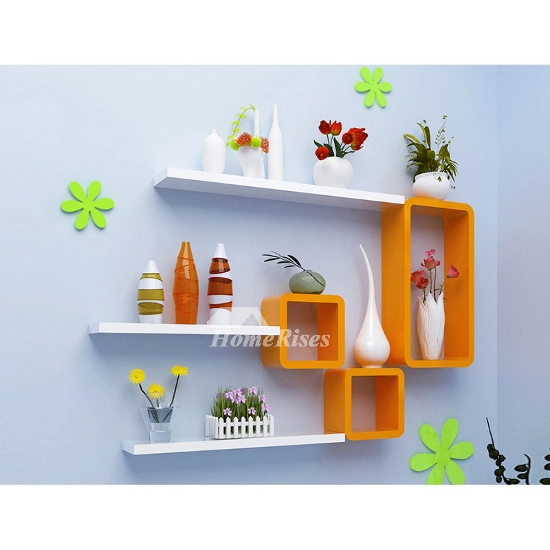 Living Room Wall Shelves Wooden Decorative Wall Mounted Cube