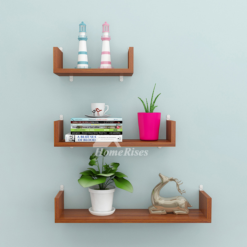 Modern Wall Shelves Pink Blue Brown Red Wooden Decorative