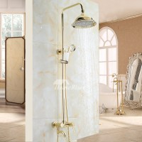 Bathroom Shower Fixtures Gold Polished Brass Wall Mount Luxury