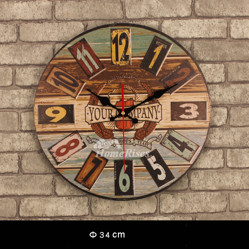 3d Shelves Wallpaper Decorative Wall Clocks Kitchen Unique Wooden Round 13 5