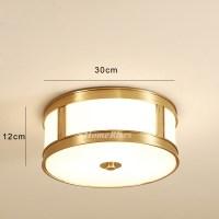 Drum Shade Ceiling Light Brass Flush Mount Glass Modern ...